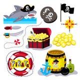 Śmieszni piratów elementy odizolowywający na białym tle ilustracji
