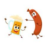 Śmieszni piwnego kubka i frankfurter kiełbasy charaktery ma zabawę wpólnie ilustracji