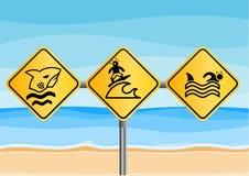 Śmieszni plaża znaki royalty ilustracja
