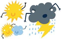 Śmieszni Pogodowi ikona charaktery Obrazy Stock