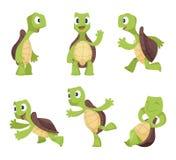 Śmieszni postać z kreskówki żółwie w różnorodnych pozach ilustracji