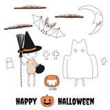 Śmieszni postać z kreskówki w Halloweenowych kostiumach ilustracja wektor