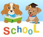 Śmieszni psy Czytający książkę Na Białym tle Kreskówka wektoru ilustracje tylna szkoły ilustracja wektor