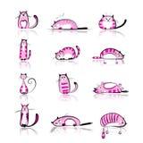 Śmieszni różowi koty inkasowi dla twój projekta royalty ilustracja