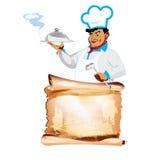 Śmieszni szczęśliwi szefa kuchni i menu bistra Zdjęcie Royalty Free