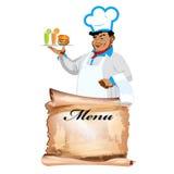 Śmieszni szczęśliwi szefa kuchni i menu bistra Obrazy Stock
