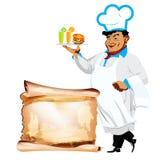Śmieszni szczęśliwi szefa kuchni i menu bistra Fotografia Royalty Free
