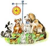 śmieszni szczekliwi psy ilustracji