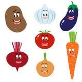 Śmieszni warzywa: grula, burak, czosnek, pomidor, cebula, oberżyna, marchewka ilustracja wektor