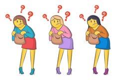 Śmieszni wektorowi doodle biznesowej kobiety spojrzenia w torbę trzyma w ona ręki i wewnątrz szokuje od zobaczył wśrodku Dosy? pi ilustracji