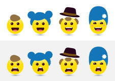 Śmieszni wyraża ogólnospołeczni medialni smileys Radosne i smutne ikony f Obrazy Stock
