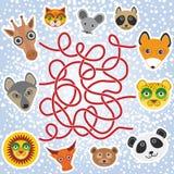 Śmieszni zwierzęta - labitynt gra dla Preschool dzieci wektor Obrazy Stock