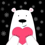 Śmieszny śliczny niedźwiedź polarny z sercem ilustracja wektor