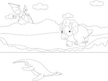 Śmieszny śliczny pterodaktyl, pliosaur i triceratops, Edukacyjni dziąsła Obrazy Royalty Free