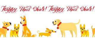 Śmieszny żółtych psów symbol rok 2018 Mieszkanie styl, ilustracja odizolowywająca na białym tle Szczęśliwy nowego roku literowani ilustracja wektor