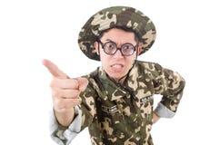 Śmieszny żołnierz w wojskowym Zdjęcie Stock