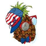 Śmieszny ananas w nakrętce i szkłach Wektorowa ilustracja dla kartka z pozdrowieniami, plakata lub druku na, odziewa ilustracja wektor