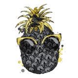 Śmieszny ananas w szkłach Wektorowa ilustracja dla kartka z pozdrowieniami, plakata lub druku na, odziewa royalty ilustracja