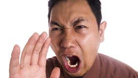 Śmieszny Azjatycki mężczyzna zakończenie W górę Gniewnego wyrażenia Zdjęcia Stock