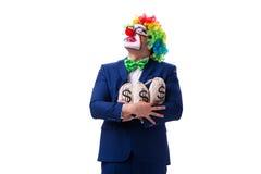 Śmieszny błazenu biznesmen z pieniędzy worków torbami odizolowywać na bielu Zdjęcie Royalty Free