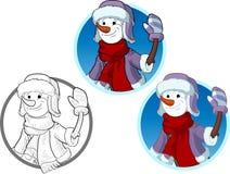 Śmieszny bałwan nowego roku charakter ilustracji