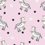 Śmieszny bezszwowy dziecięcy wzór z ślicznymi zebrami ilustracja wektor