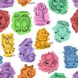 Śmieszny Bezszwowy wzór nakreślenie zodiaka znaki Obraz Royalty Free