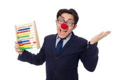 Śmieszny biznesmen z abakusem odizolowywającym na bielu Zdjęcia Stock