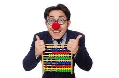 Śmieszny biznesmen z abakusem odizolowywającym na bielu Zdjęcie Stock