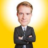 Śmieszny biznesowy mężczyzna z dużą głową Obraz Stock