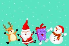 Śmieszny Bożenarodzeniowy charakteru projekt z śniegiem, Święty Mikołaj, bałwanem, prezenta pudełkiem i reniferem, Obraz Royalty Free