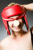 Śmieszny bokser z wygraniem Fotografia Royalty Free