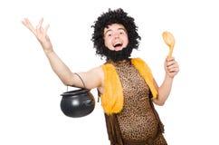 Śmieszny caveman z garnkiem odizolowywającym Zdjęcie Stock