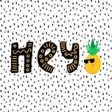Śmieszny Chłodno ananas i hej literowanie ilustracja wektor