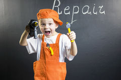 Śmieszny chłopiec budowniczy Zdjęcie Stock