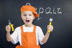 Śmieszny chłopiec budowniczy Zdjęcia Stock