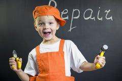 Śmieszny chłopiec budowniczy Obraz Royalty Free