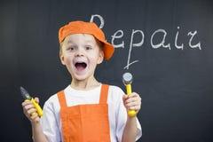 Śmieszny chłopiec budowniczy Zdjęcie Royalty Free