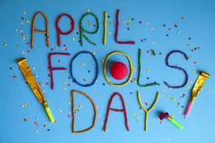 Śmieszny chrzcielnica pierwszy Kwietnia durni dzień pisać w plastecine różni kolory Zdjęcia Royalty Free