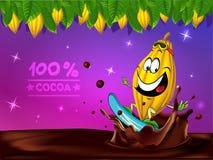 Śmieszny czekoladowy wektorowy projekt z kakaowym strąkiem Zdjęcia Stock