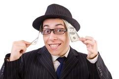 Śmieszny dżentelmen w pasiastym kostiumu odizolowywającym na Zdjęcia Royalty Free