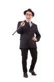 Śmieszny dżentelmen w pasiastym kostiumu odizolowywającym na bielu Zdjęcie Stock