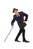 Śmieszny dżentelmen w pasiastym kostiumu odizolowywającym na bielu Fotografia Stock