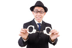 Śmieszny dżentelmen w pasiastym kostiumu odizolowywającym na bielu Zdjęcia Royalty Free