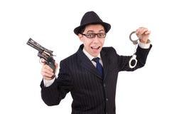 Śmieszny dżentelmen w pasiastym kostiumu odizolowywającym na bielu Zdjęcia Stock