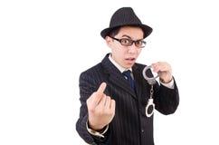 Śmieszny dżentelmen w pasiastym kostiumu odizolowywającym na bielu Obraz Royalty Free