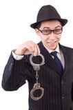 Śmieszny dżentelmen w pasiastym kostiumu odizolowywającym na bielu Obrazy Stock