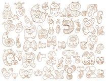 Śmieszny doodle kreskówki abecadło Zdjęcie Royalty Free