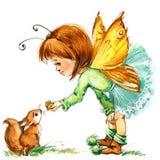 Śmieszny dziecko czarodziejki tło banki target2394_1_ kwiatonośnego rzecznego drzew akwareli cewienie ilustracja wektor