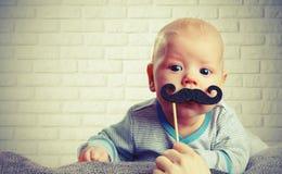 Śmieszny dziecko z wąsy Zdjęcie Royalty Free